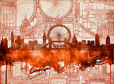 London Eye Painting - London Skyline Old Vintage 2 by Bekim Art