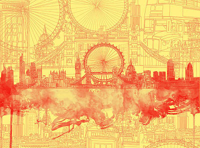 Painting - London Skyline Old Vintage 3 by Bekim Art