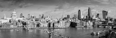Photograph - London Skyline St Paul's And The City Black And White Version by Gary Eason