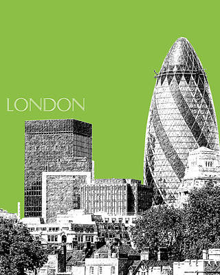 Pen Digital Art - London Skyline The Gherkin Building - Olive by DB Artist