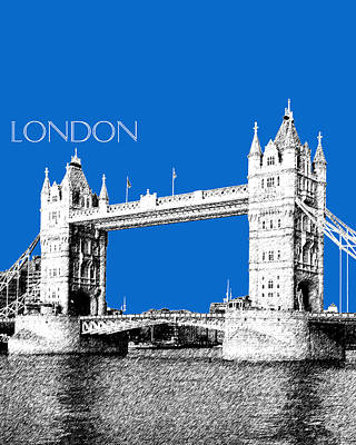 Towers Digital Art - London Skyline Tower Bridge - Blue by DB Artist