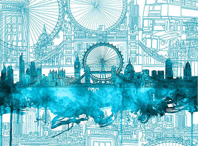 Painting - London Skyline Vintage Blue 2 by Bekim Art