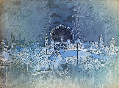 London Skyline Painting - London Skyline Vintage Blue by Bekim Art