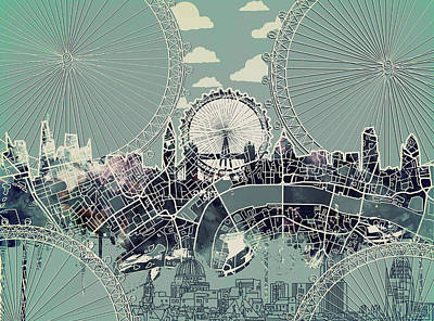 London Eye Digital Art - London Skyline Vintage by Bekim Art