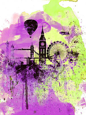 London Skyline Painting - London Skyline Watercolor 1 by Naxart Studio