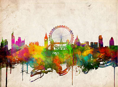 London Skyline Painting - London Skyline Watercolor 2 by Bekim Art