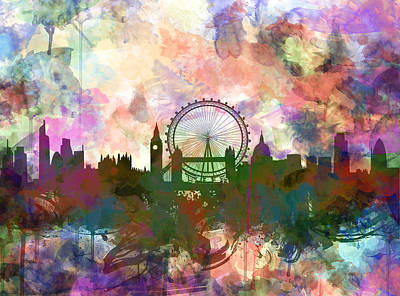 London Eye Painting - London Skyline Watercolor by Bekim Art