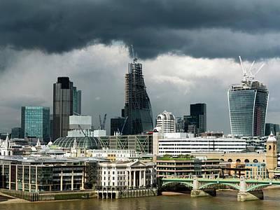 Grey Clouds Photograph - London Skyscraper Construction by Daniel Sambraus