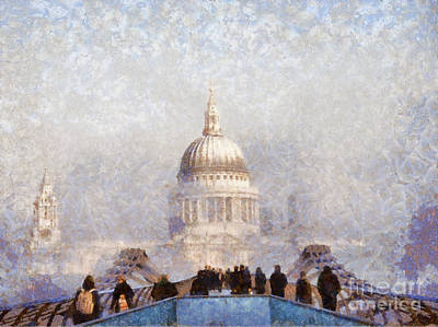 Mist Painting - London St Pauls In The Fog by Pixel  Chimp