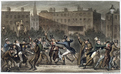 Tom Boy Painting - London Street Brawl, 1821 by Granger