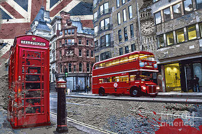 Big Ben Digital Art - London Street Creation by Delphimages Photo Creations