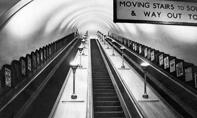 London Subway Escalators Art Print by Underwood Archives