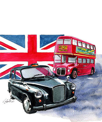 Bus Painting - London Taxi And London Bus by Yoshiharu Miyakawa