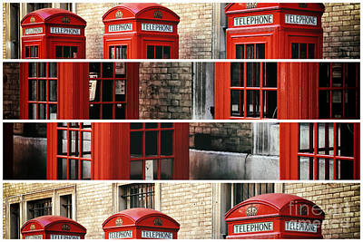 Photograph - London Telephone Panels by John Rizzuto