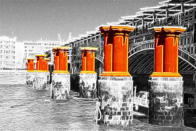 London Thames Bridges Fractals Print by David French