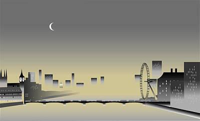 Westminster Abbey Digital Art - London Thames In The Mist by Nigel Wakefield