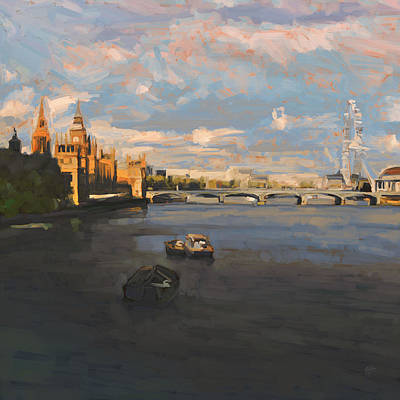 River Painting - London Thames by Nop Briex
