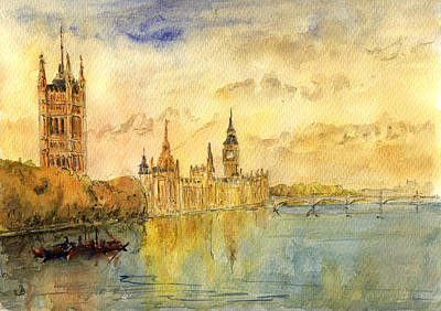Big Ben Wall Art - Painting - London Thames River by Juan  Bosco