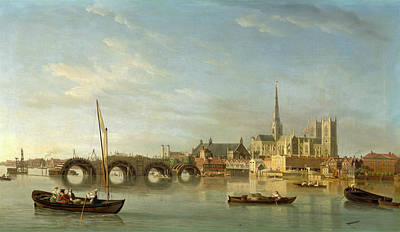 Westminster Abbey Painting - London, The Building Of Westminster Bridge Westminster by Litz Collection