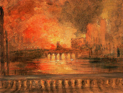 Textured Landscapes Drawing - London, The Burning Of The Houses Of Parliament Fire by Litz Collection