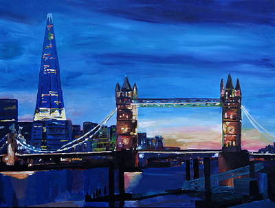 Shards Painting - London Tower Bridge And The Shard At Dusk by M Bleichner