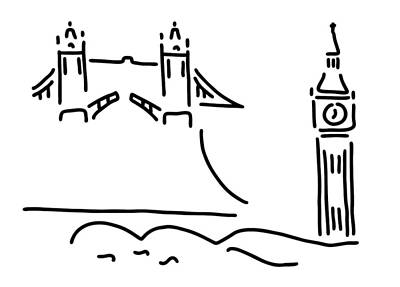 Big Ben Drawing - London Tower Bridge Big Ben by Lineamentum