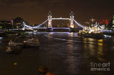 Photograph - London Tower Bridge By Night by Deborah Smolinske