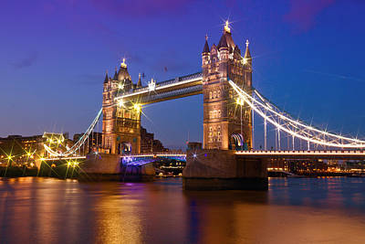 Historical Bridge Digital Art - London - Tower Bridge During Blue Hour by Melanie Viola