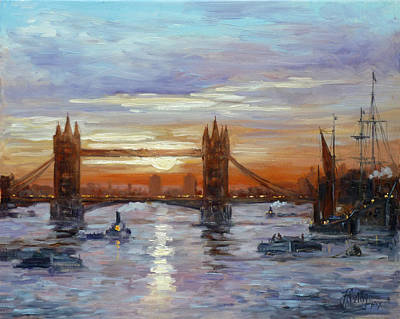 Sunset Painting - London Tower Bridge by Irek Szelag