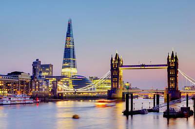 London, Tower Bridge, The Shard And Art Print by Alan Copson