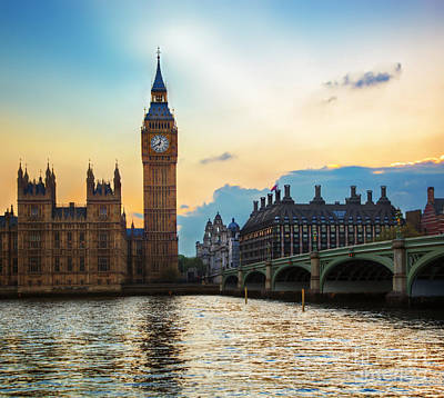 Places Photograph - London Uk Big Ben The Palace Of Westminster At Sunset by Michal Bednarek