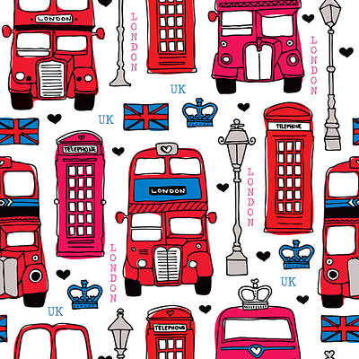 Textured Drawing - London Uk Illustration by Little Smilemakers Studio