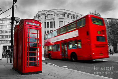 Lantern Photograph - London Uk Red Phone Booth And Red Bus In Motion by Michal Bednarek