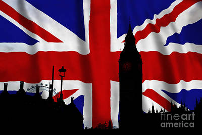 London Eye Digital Art - London Union Jack Montage by Tim Gainey