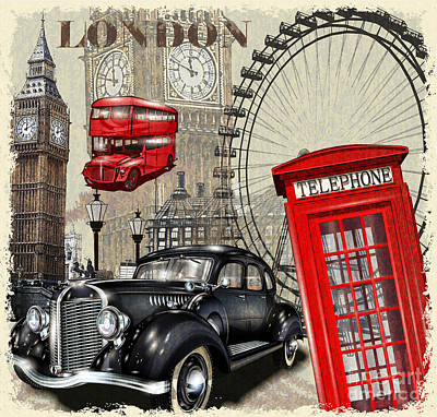 Leisure Wall Art - Digital Art - London Vintage Poster by Axpop