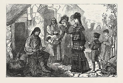 London Visitors At The Sea-side, Engraving 1876, Uk, Britain Art Print by H. Tuck, English School, 19th Century