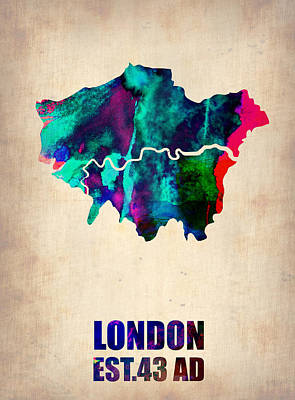 Global Digital Art - London Watercolor Map 2 by Naxart Studio