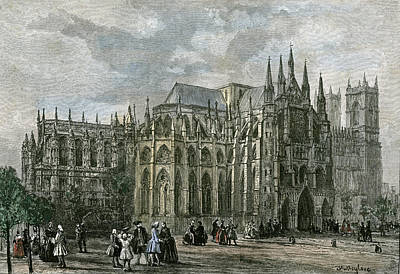 Prints Of Fashion Drawing - London Westminster Abbey 19th Century Church Street by English School