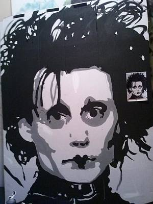 Edward Scissor Hands Painting - Londons Edward Sizzor Handz by London Picaso