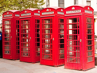 London's Red Phone Boxes Art Print
