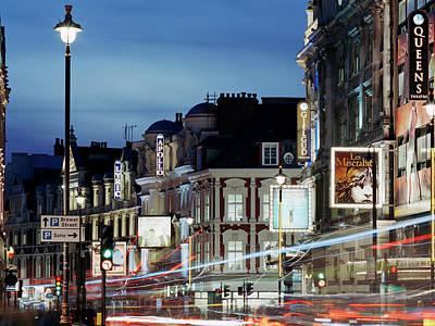 Londons Shaftesbury Avenue At Dusk Art Print by Shomos Uddin