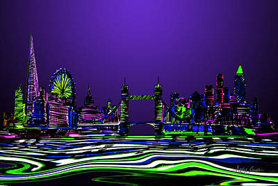 London Skyline Painting - Londonskyline In Blue  by Artist Singh