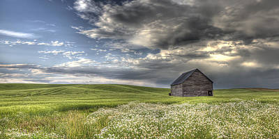 Contour Farming Photograph - Lone Barn  by Latah Trail Foundation