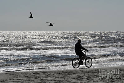 Photograph - Lone Biker On Beach by Dan Friend