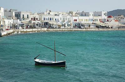 Mykonos Photograph - Lone Boat Anchored Off Mykonos - A by Gregory Adams