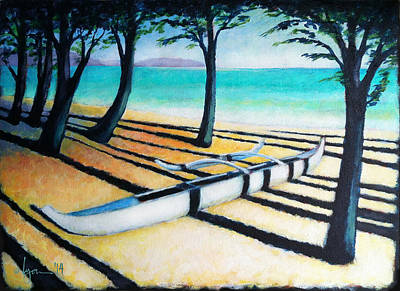 Outrigger Painting - Lone Canoe by Angela Treat Lyon