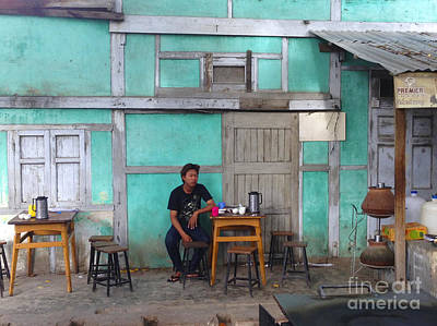 Photograph - Lone Customer In Coffee Shop 74th Street Chanayethazan Mandalay Burma by Ralph A  Ledergerber-Photography
