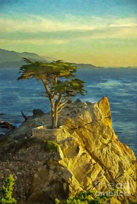 Lone Cypress Tree Print by Sheldon Kralstein