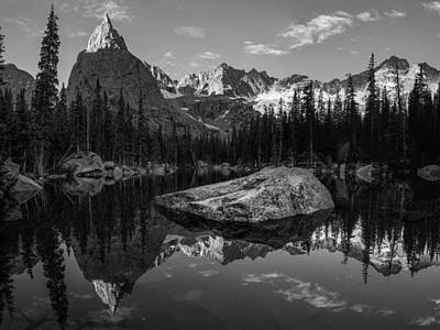Lone Eagle Peak Black And White Print by Aaron Spong