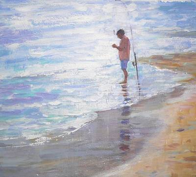 Painting - Lone Fisherman by Jackie Simmonds